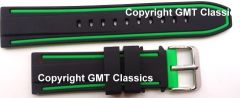 Black and Green Silicone Strap 22MM 20MM 24MM